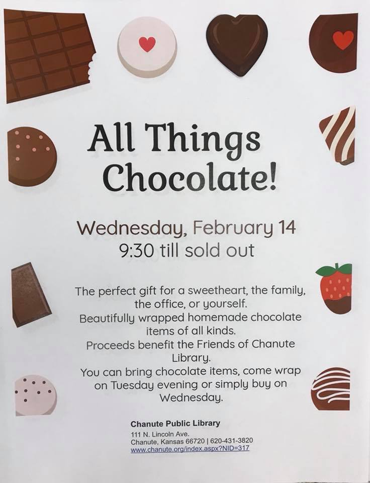 Chanute Library Chocolate Sale Feb 14th