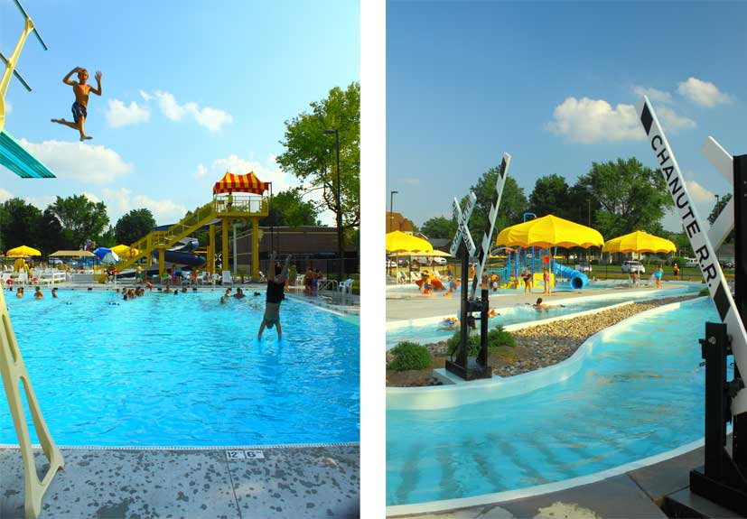 Two pictures put into one showing a child diving into pool and the lazy river